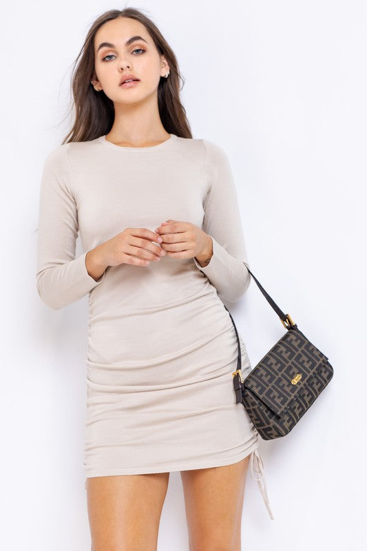 LONG SLEEVE ROUND-NECK SIDE DRESS
