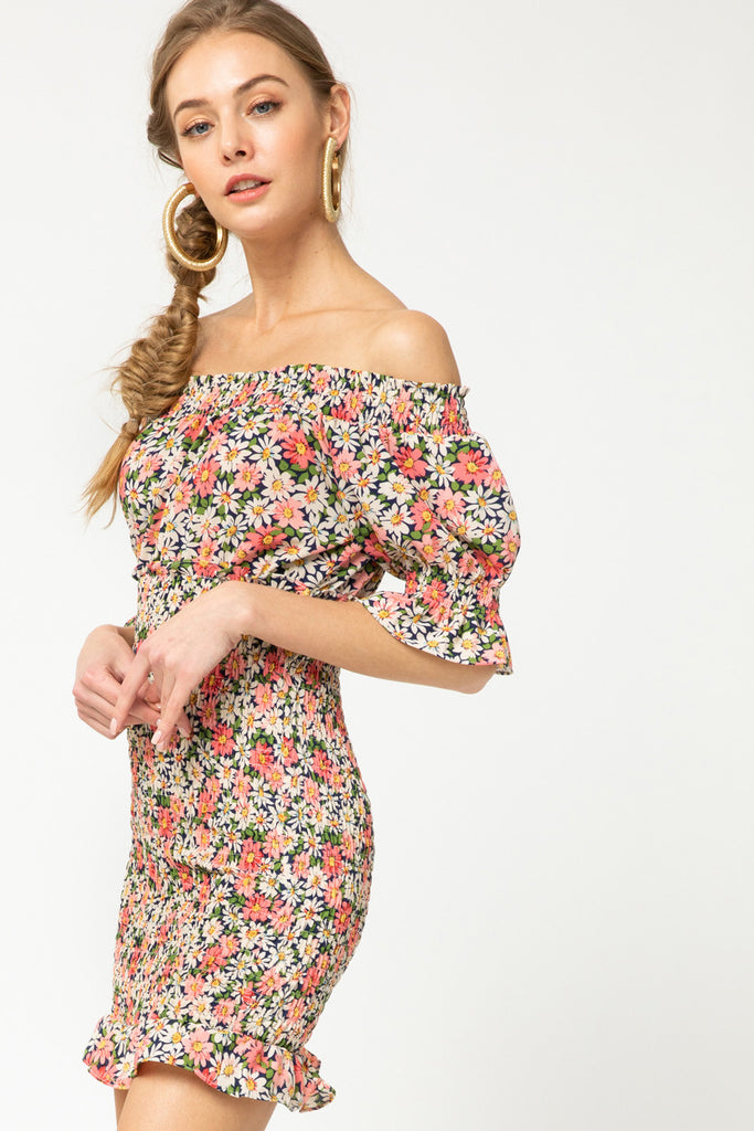 Floral print smocked off-shoulder dress