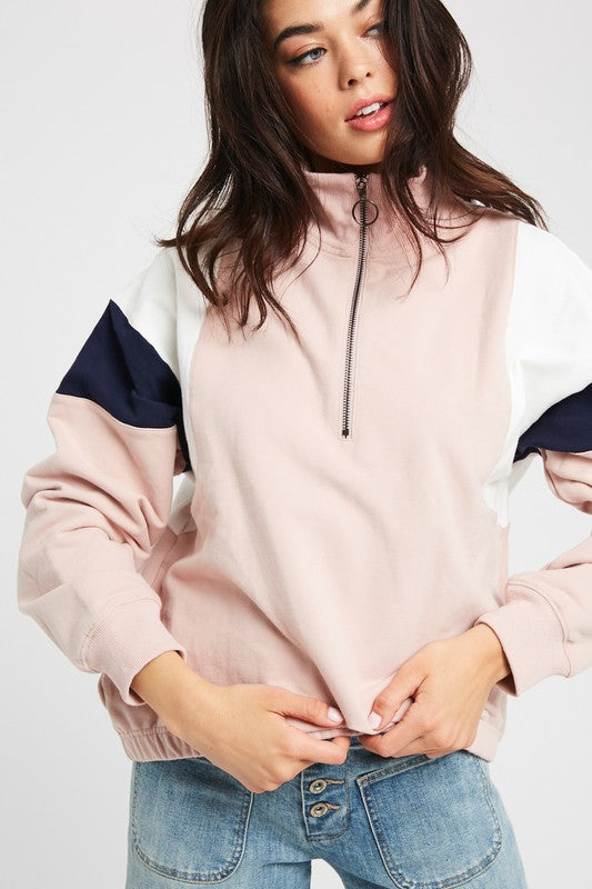 OVERSIZED HALF-ZIP SWEATSHIRT