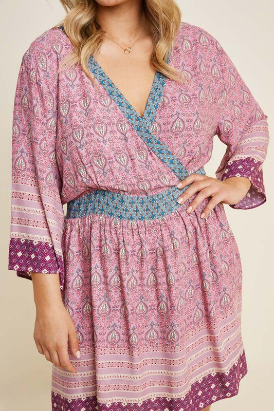 Paisley Surplice A-Line Dress