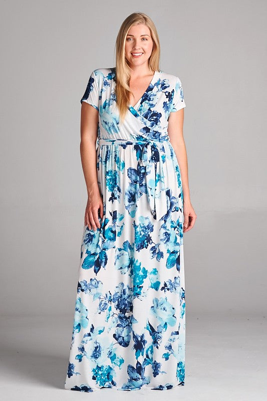 Short Sleeves Floral Maxi Dresses