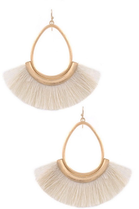 Metal teardrop cotton fringe drop earrings