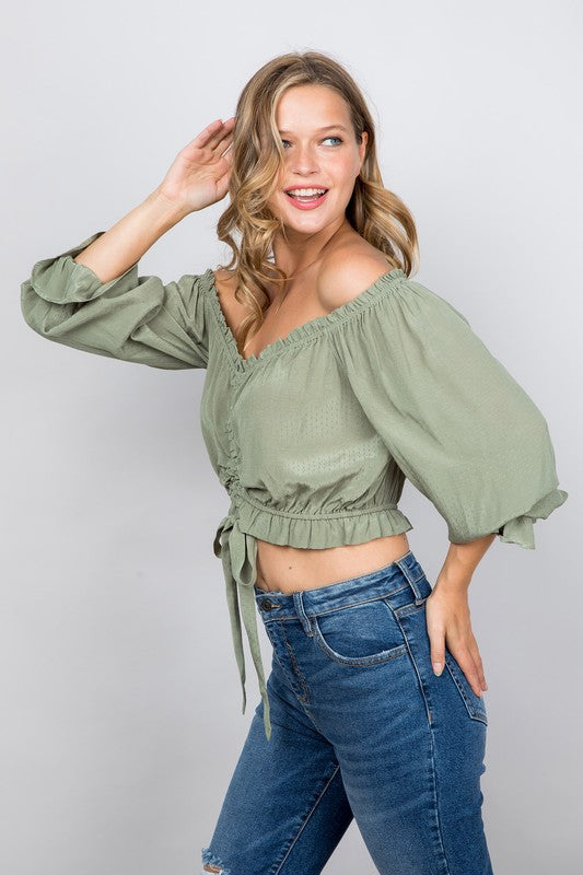 Ruffle Frilled OTS Crop Blouse