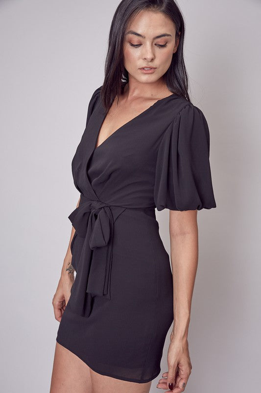 SIDE TIE V-NECK DRESS