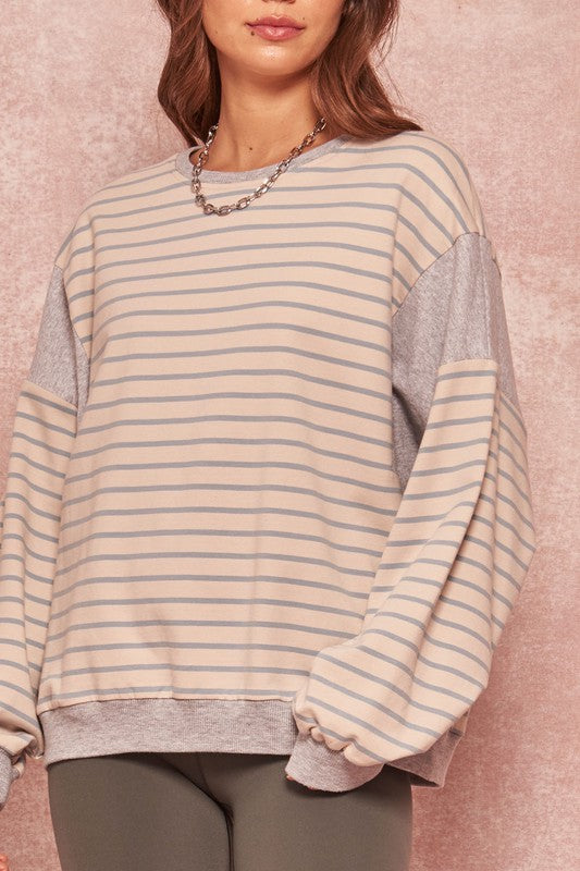 Striped Colorblock Oversize French Terry Top