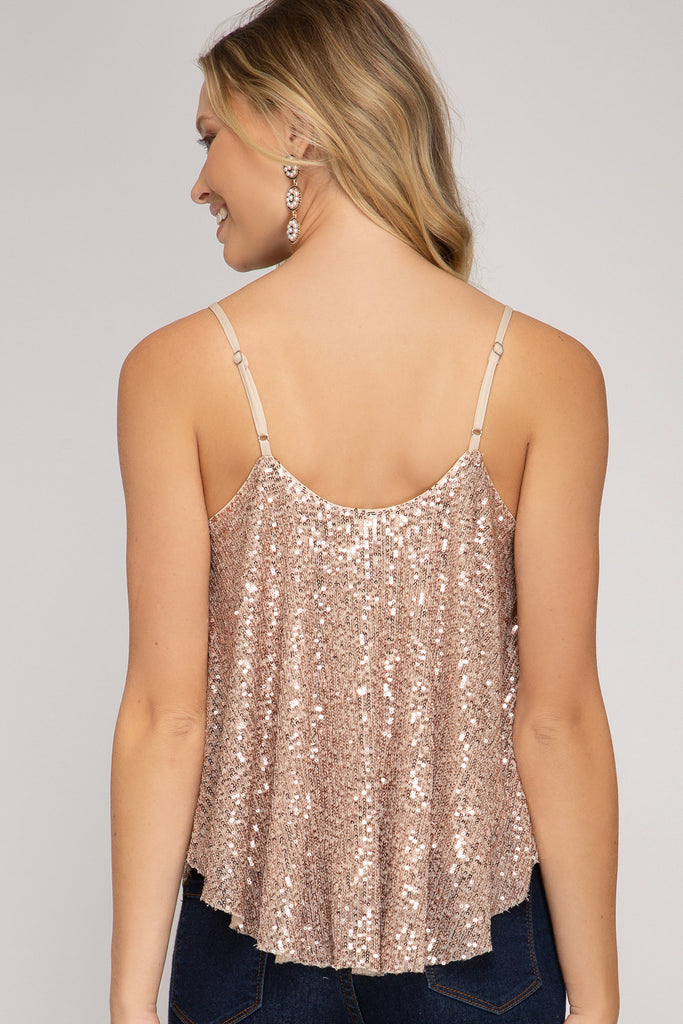 SEQUIN CAMI TOP WITH ADJUSTABLE STRAPS