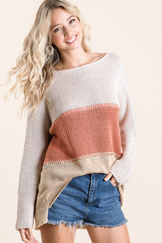 COLOR BLOCKED SWEATER/Final Sale