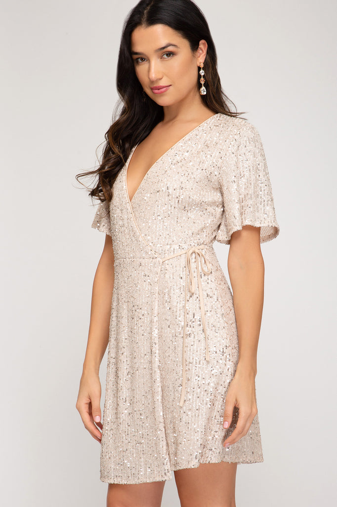 HALF SLEEVE SURPLICE SEQUIN WRAP DRESS