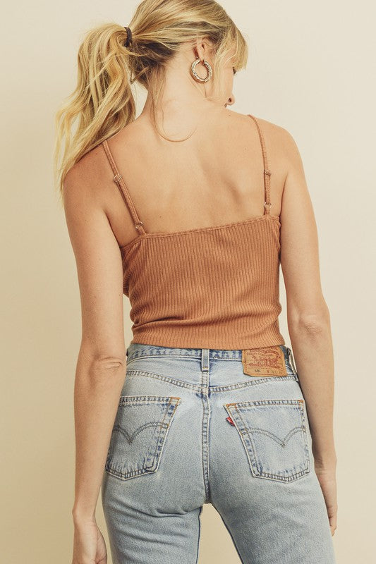 Ribbed crop cami top