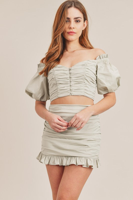 BUTTON DOWN CROP TOP AND RUCHED MINI SKIRT SET