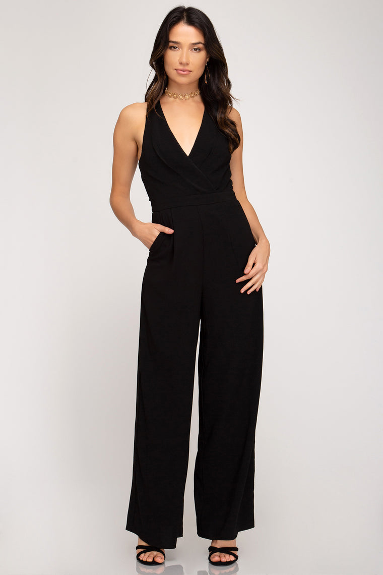 SLEEVELESS SURPLICE WIDE LEG WOVEN JUMPSUIT