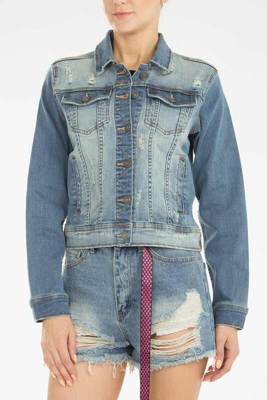 Distressed Denim Jacket KC7277M