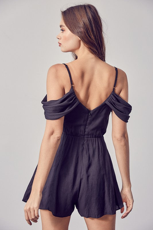COLD SHOULDER PLEATED ROMPER