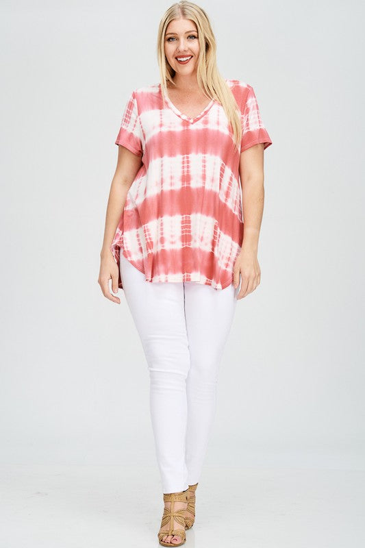 Plus Size High Low Tye Dye V-Neck Tunic Top