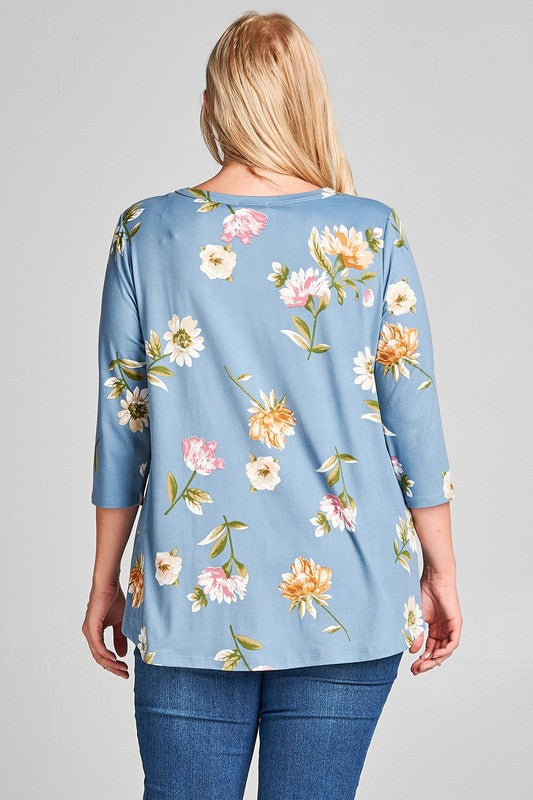 Floral Print Top with Lace-Up Eyelets