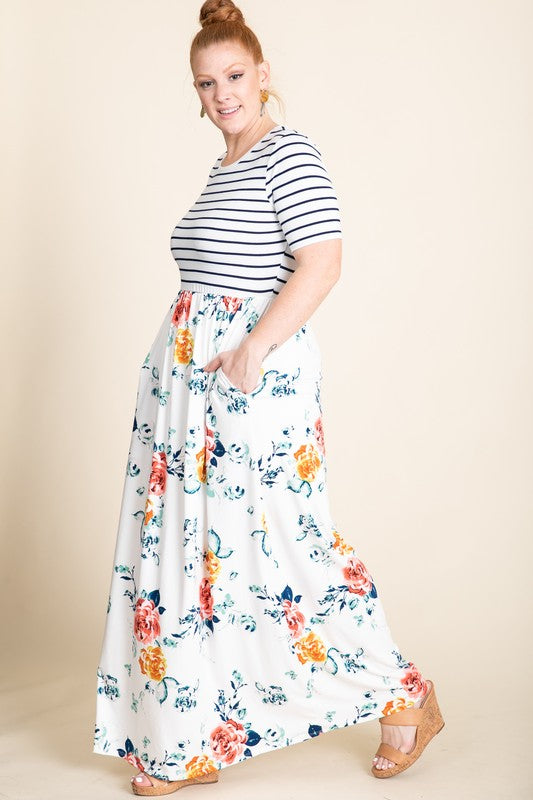 PLUS Stripe & Floral Maxi