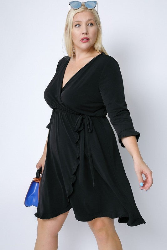 PLUS SIZE  BUTTON DOWN FLARED DRESS