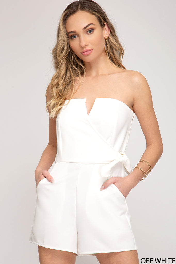 TUBE TOP WITH SIDE TIE HEAVY KNIT ROMPERS