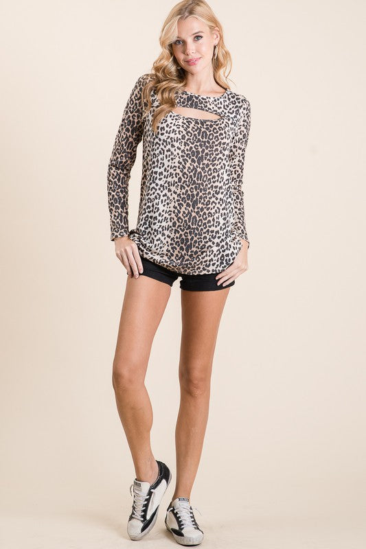 LEOPARD THERMAL KNIT TOP WITH CUT OUT NECK DETAIL