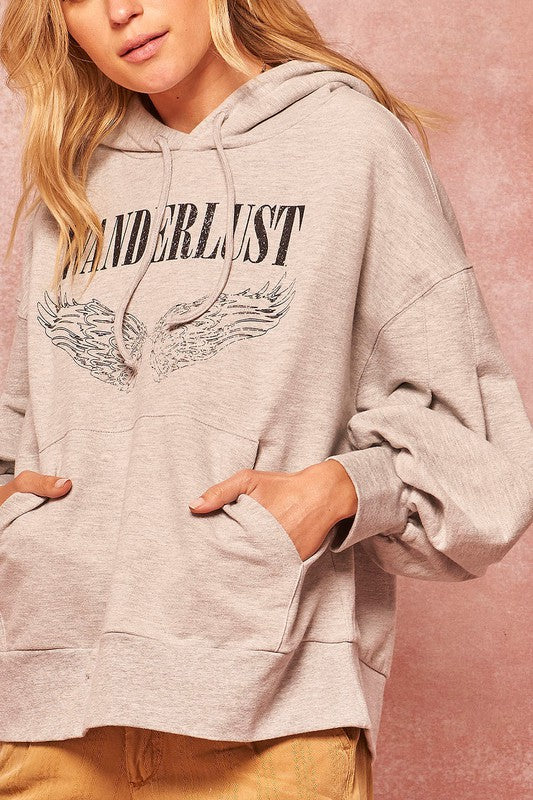 Wanderlust Angel Graphic Kangaroo Hoodie Top