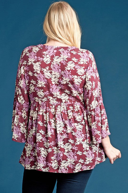 Bell Sleeves Floral Woven Top