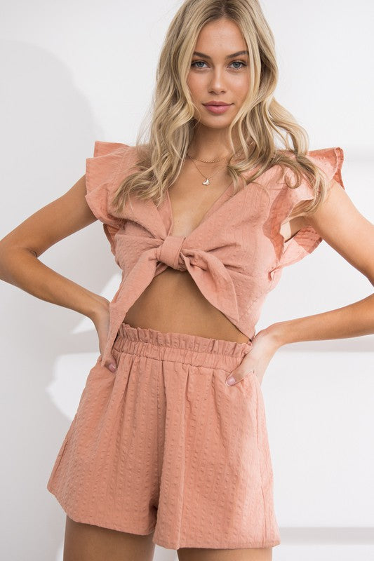 ANETTE FRILL TOP & SHORTS SET