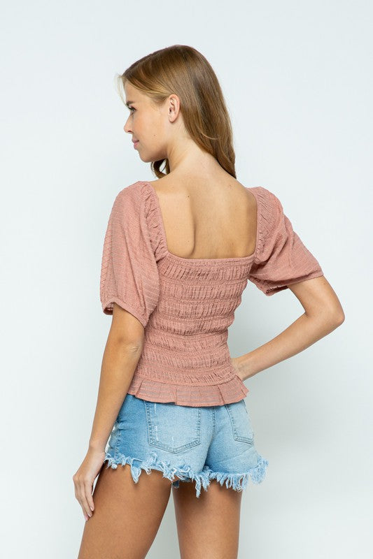 SHIRRED CROP TOP WITH PUFF SLEEVE