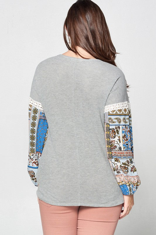Mixed Printed Bishop Sleeve Thermal Knit Top