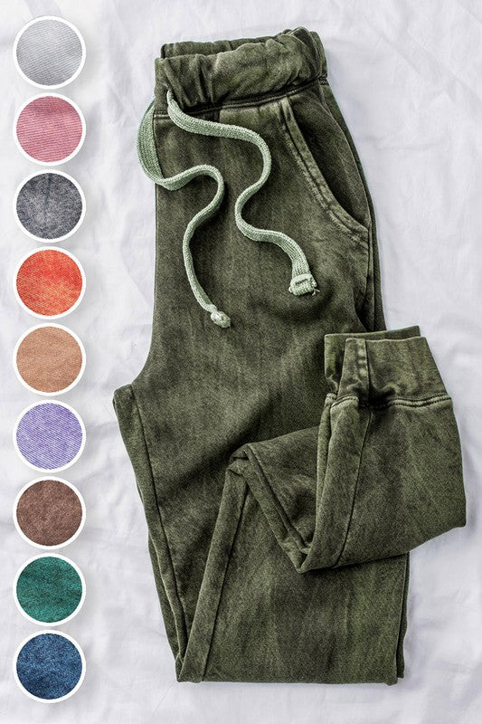 MINERAL WASHED FRENCH TERRY TWO TONE JOGGERS