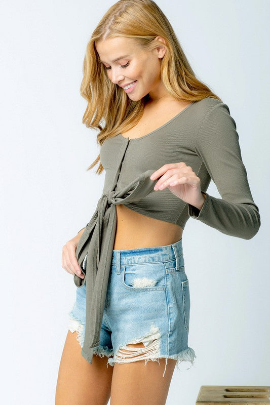 Ribbed Singlet Longsleeve Crop Top