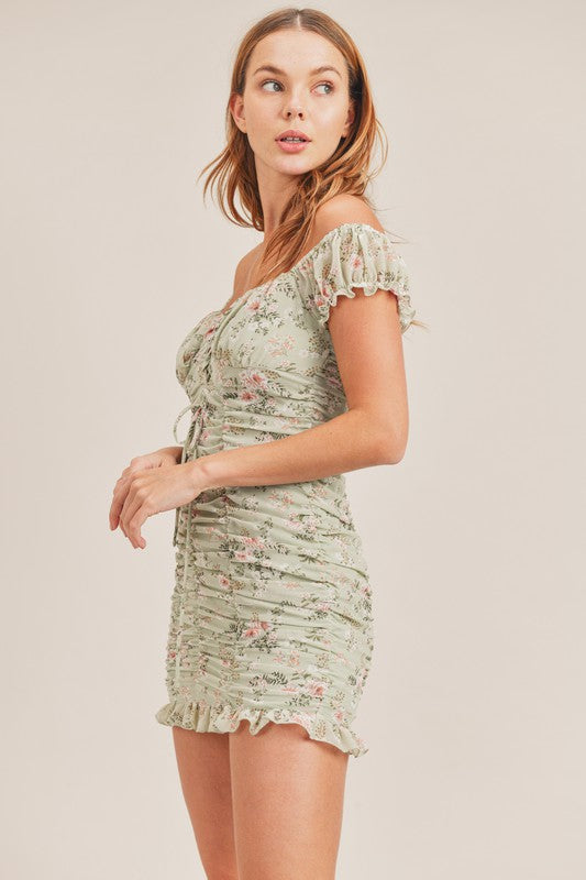 FLORAL PRINT RUCHED DRESSS WITH FRONT DETAIL