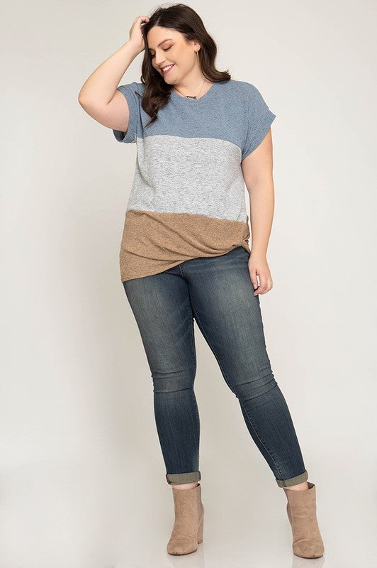 CUFFED DOLMAN SHORT SLEEVE COLOR BLOCKED KNIT TOP