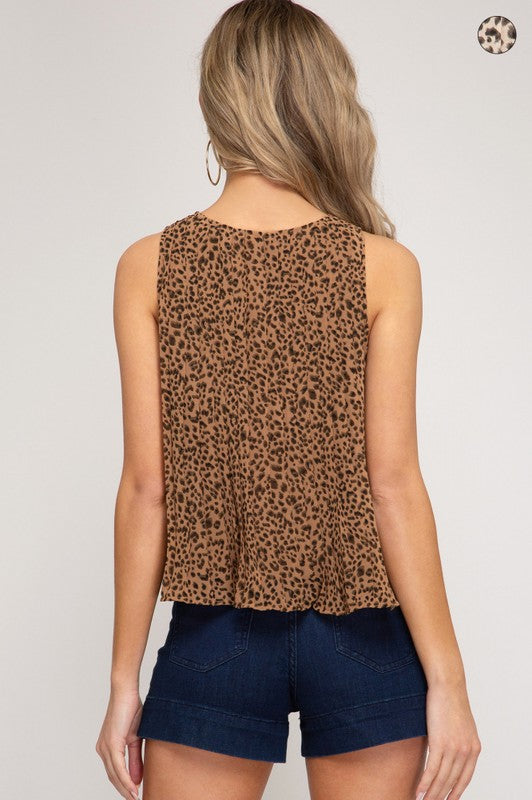PLEATED LEOPARD TOP