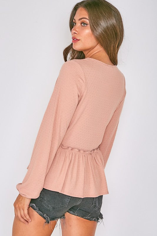 Long Sleeve V Neck Gathered Peplum Top