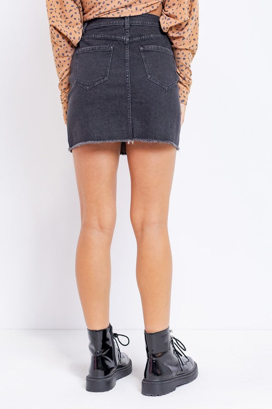 DENIM MINI SKIRT WITH ZIPPER