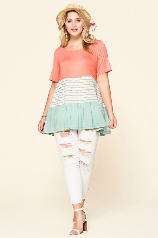 Striped and Color-Blocked Knit Top