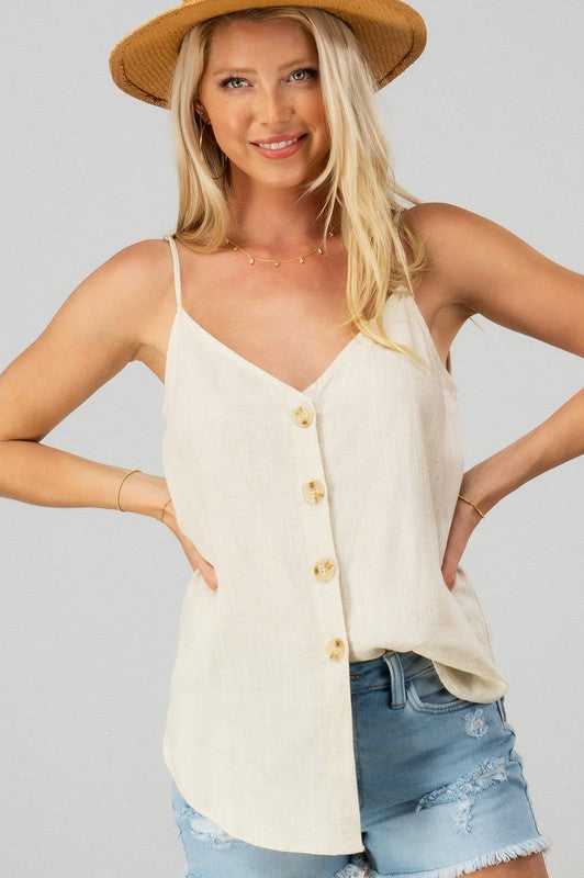 LINEN SOLID ADJUSTED STRAP COCONUT BUTTON CAMI