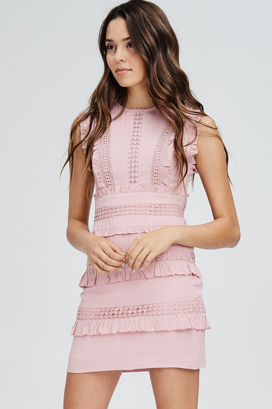 Ruffle Edge Detail Mini Dress
