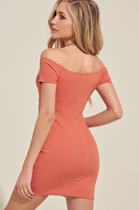 OFF THE SHOULDER MINI DRESS WITH SHIRRING DETAIL