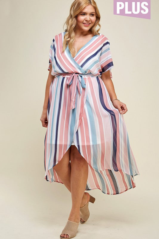 PLUS SIZE WRAP MAXI DRESS WITH WAIST TIE