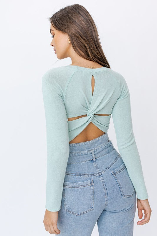 LONG SLEEVE BACK TWIST CROP TOP