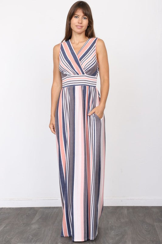 Surplice Vintage Stripe Maxi Dress