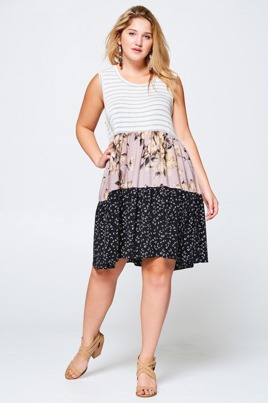 Print-Blocked Knit Dress with Tiered Skirt