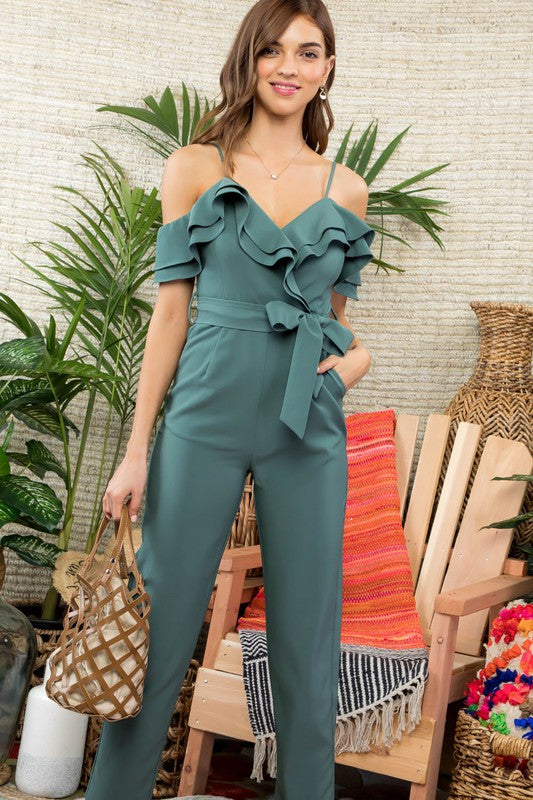 Double Layered Ruffle Detail Cami Solid Jumpsuit With Tie Belt
