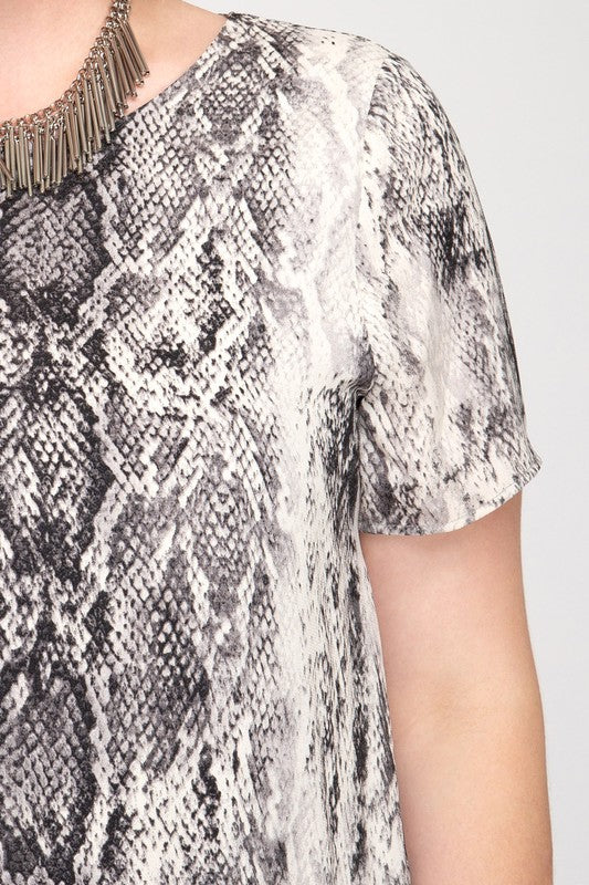 PLUS SIZE HALF SLV SNAKE SKIN PRINTED SHIFT DRESS