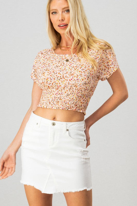 FLORAL PRINT SMOCKED WAIST CROP TOP