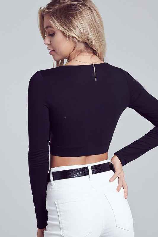 WRAPPED DEEP V-NECK SIDE CUTOUT LONG SLEEVE CROP TOP