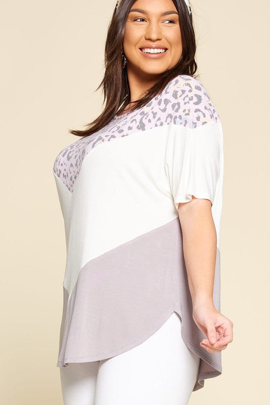 Plus Size Animal Print Color Block Striped Casual Tunic Top
