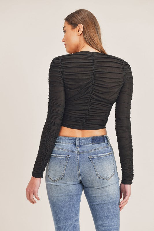 LONG SLEEVE RUCHED CROP HOOK AND EYE CROP TOP