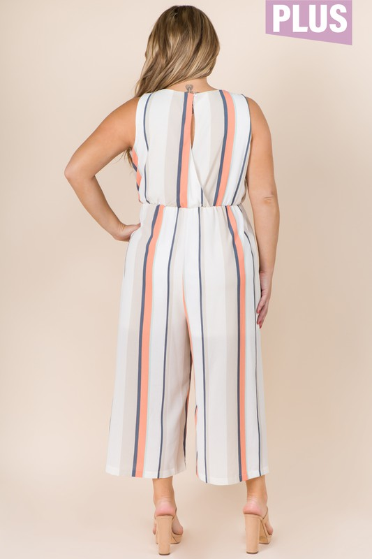 PLUS SIZE MULTICOLOR STRIPE JUMPSUIT
